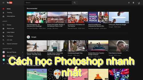 học photoshop qua youtube